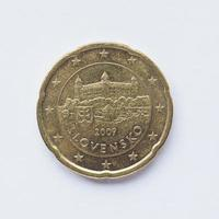 moeda eslovaca de 20 cêntimos foto