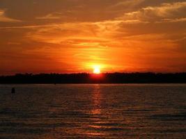 pôr do sol sobre o canal de bancos da praia de wrightsville, nc eua