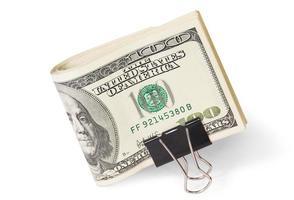 notas de dólar com clip foto