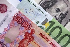 rublos, euro e dólares foto