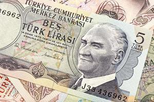 lira turca velha, detalhe de macro foto