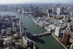 vista aérea das áreas de kachidoki foto