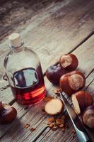 castanhas e garrafa com tintura saudável foto