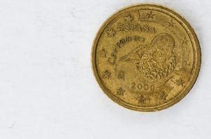 Moeda de 50 cêntimos de euro com parte traseira de espania cervantes foto