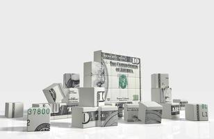 quebra-cabeça do cubo de nota de dólar foto