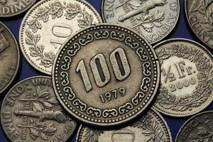 moedas da coreia do sul foto