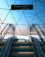 escada rolante no aeroporto moderno foto