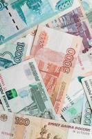 fundo de dinheiro russo. rublos notas closeup foto textura