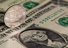 rublo e dólar foto