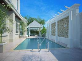 quintal com área de entretenimento e piscina, 3d foto