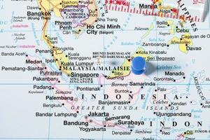 mapa com foco na Malásia foto