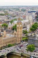 vista aérea do big ben, casas do parlamento, londres foto