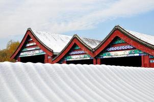 queda de neve pesada no palácio de verão foto