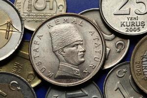 moedas da Turquia. mustafa kemal ataturk foto