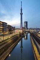 vista da cidade de tóquio e skytree de tóquio foto