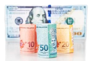 close-up da nota de moeda malásia ringgit contra o dólar americano