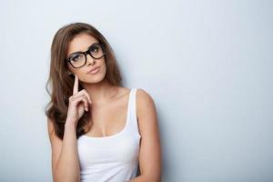 mulher de óculos foto
