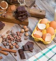 ingredientes para o bolo de chocolate