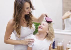 mamãe, você é a melhor cabeleireira!