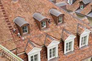 telhado de azulejos tradicional com janelas em Berna, Suíça.