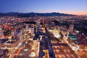 vista aérea na hora por do sol de sapporo, hokkaido, japão