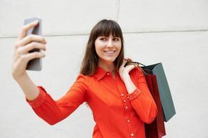 selfie com compras foto