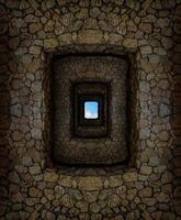 masmorra com paredes de pedra e janela clara no alto