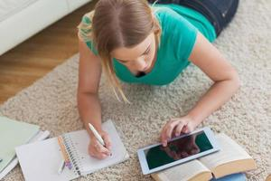 mulher loira deitada no chão usando o tablet para fazê-la