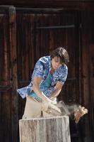 alemanha, baviera, homem cortando madeira
