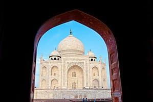 Índia. taj mahal. arquitetura islâmica. porta para a mesquita foto