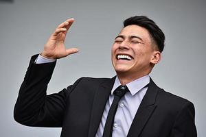empresário inteligente e risos foto