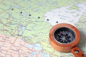 destino de viagem canadá, mapa com bússola foto