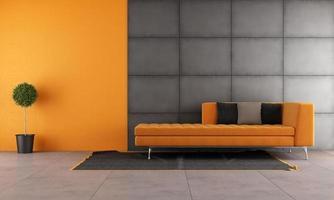 sala de estar preta e laranja