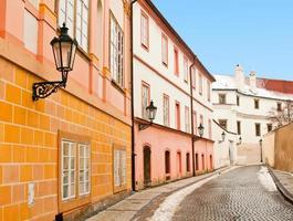bela rua em Praga, foto feita no inverno