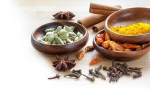 especiarias exóticas, fundo de canto para culinária indiana turva para w foto