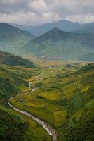 campos de arroz em terraços no pôr do sol na vila tu le,