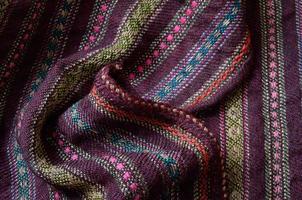 close-up de lã caseira enrugada