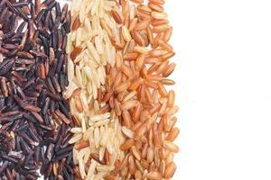 três tipos de variedade de arroz integral foto