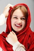 retrato de jovem muçulmana linda