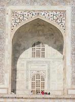 detalhes da decoração externa de taj mahal, india foto