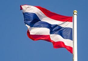 bandeira da tailândia sopra o vento foto