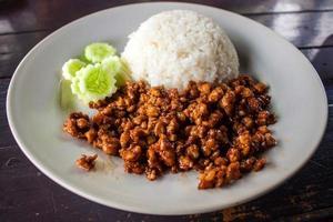 carne picada com arroz foto