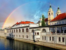 rio em ljubljana da ponte do dragão, eslovénia