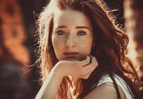 beleza do cabelo vermelho foto