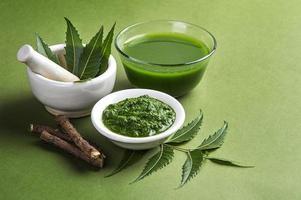 folhas de nim medicinal em almofariz e pilão