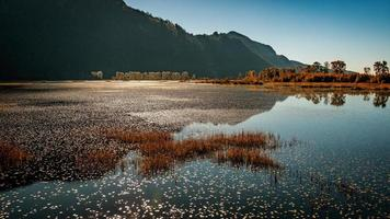 corpo calmo de água perto da montanha foto