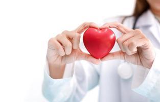 médico mulher segurando coração vermelho