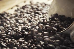 grãos de café em um copo em um fundo iluminado pelo sol foto