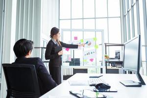dois parceiros de negócios apresentando um novo projeto no trabalho
