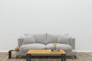 sala de estar com sofá cinza e mesa de centro retangular